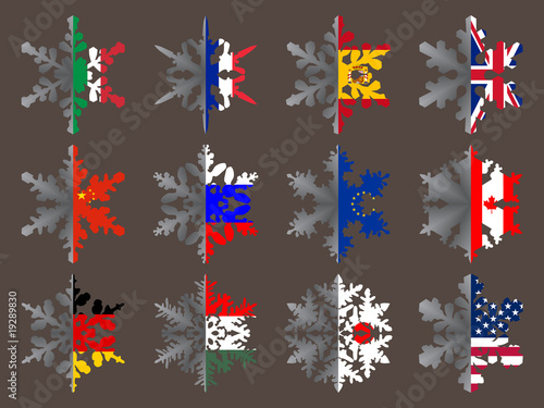 Snowflakes with flags - pack 1
