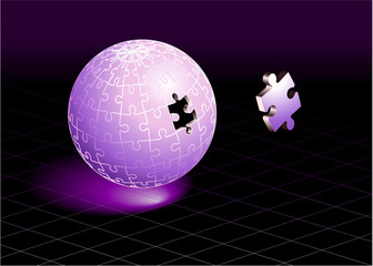 Missing Puzzle Piece on Purple Globe