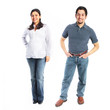 Man and woman standing full body isolated