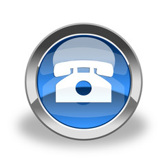 blue phone & telephone glass icon & button