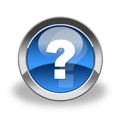 ask, question icon&button, blue and glass