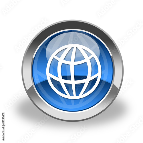 world, earth icon & button; glass and blue