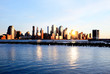 Lower Manhattan skylines at sunset