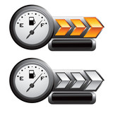 gas icon gold and white arrow nameplate banners poster