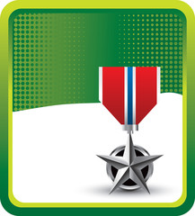 military medal green checkered banner