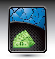dollar bills blue cracked backdrop