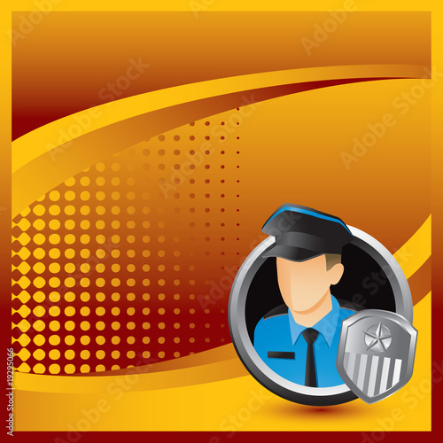 police or security officer orange halftone background