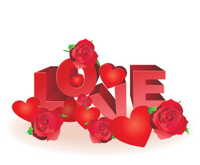 red hearts and roses love letters vector
