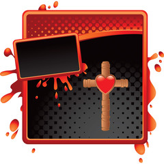 heart and Christian cross red and black halftone grungy ad