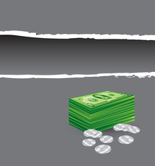 money stack and coins gray ripped template