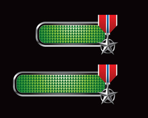 military medal green checkered tabs