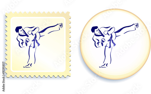 Martial Arts on stamp and button set