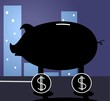 Illustration of symbols with pig in dollar frame