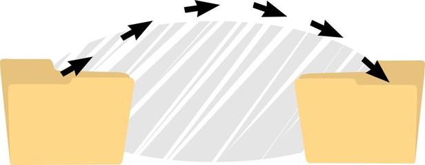 Illustration of a transfer of arrows in folders