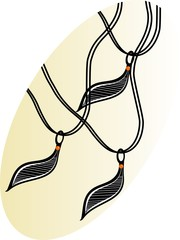 Illustration of a necklace with pendants
