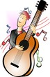 Illustration of a cartoon fiddle player