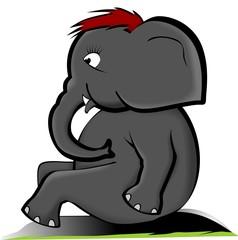 Illustration of a cartoon elephant