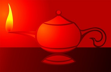 Illustration of aladins's magic lamp in red background