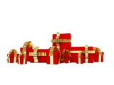 Lots of presents with golden ribbons isolated on white