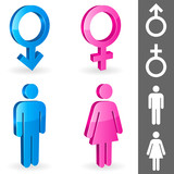 Three-dimensional shapes of male and female gender symbols.
