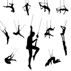 Vector Trapeze dancer silhouettes