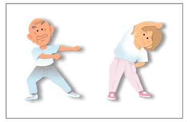 体操するおじいさん-おばあさん