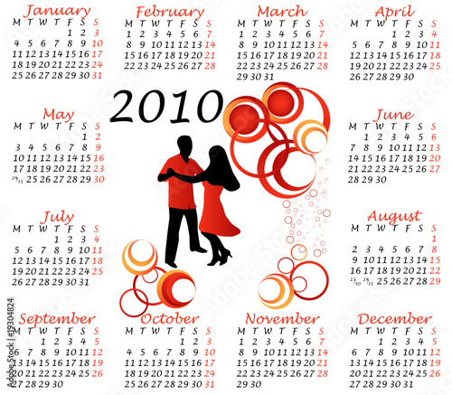 Illustration of calendar for 2010. year