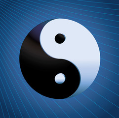 Ying Yang Symbol on blue background
