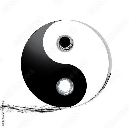 Ying Yang Symbol with track, vector