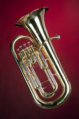 Tuba Bass Euphonium Isolated on Red