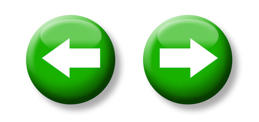 next and previous button & icon, green and glass