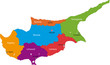 Map of administrative divisions of Cyprus