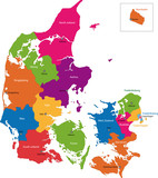 Map of administrative divisions of Denmark poster