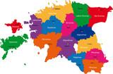 Map of administrative divisions of Republic of Estonia poster