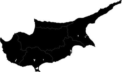 Black Cyprus map with region borders