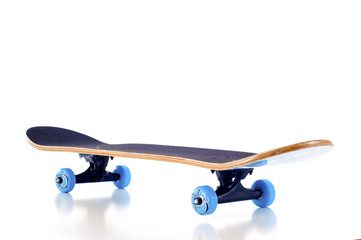 Skateboard with Blue Wheels -  Isolated over a White Background