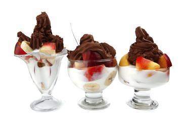 crystal bowl with chocolate ice cream