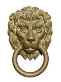 Medieval door knocker, bronze lion head cutout poster