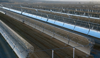panoramic view of solar parabolic mirrors