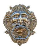 Medieval door knocker, bronze human head cutout poster