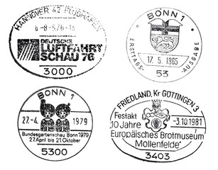 four special postmarks from germany