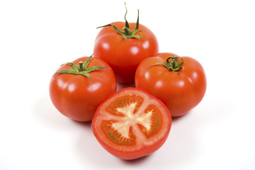 Ripe Tomatoes on White with Clipping Path