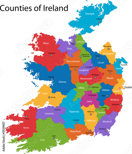 Colorful Republic of Ireland map with regions   Buy Photos   AP ...