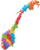 Map of administrative divisions of Norway poster