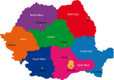 Map of administrative divisions of Romania poster