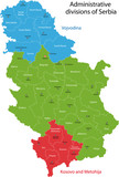 Map of administrative divisions of Republic of Serbia poster