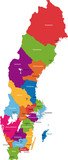 Vector color map of administrative divisions of Sweden poster