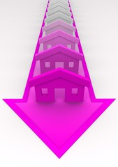House concept - houses colored to pink on arrow.