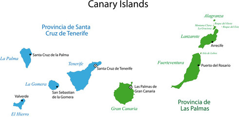 Colorful Canary Islands map
