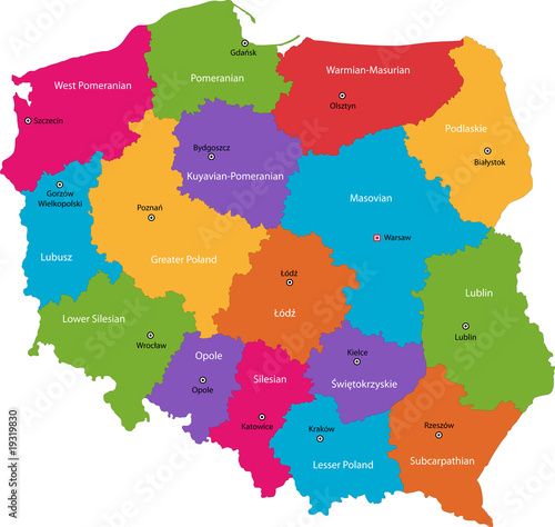 Fototapety, obrazy : Vector color map of administrative divisions of Poland